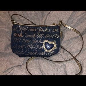 Coach Blue and Gold New York Crossbody Bag
